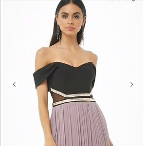 Soieblu Pelated Off The Shoulder Combo Gown